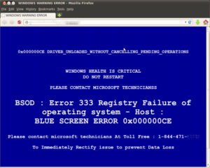 A fake computer virus warning on a PC